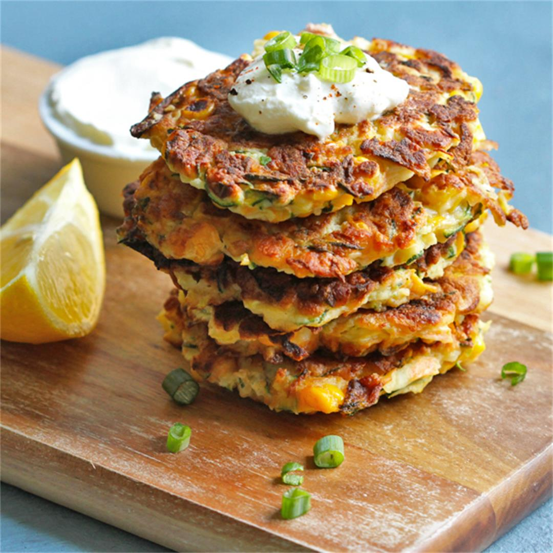 Zucchini and Haloumi Fritters with Sweet Corn
