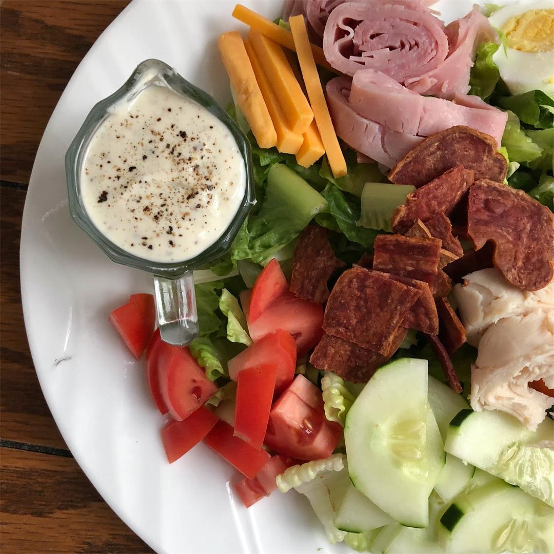 Chef Salad with Creamy Parmesan Garlic Yogurt Dressing
