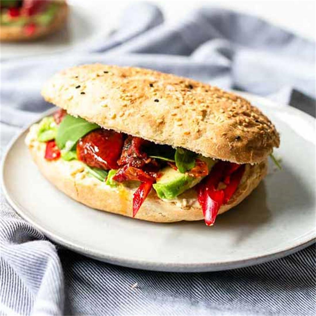 Vegan Turkish bread sandwich