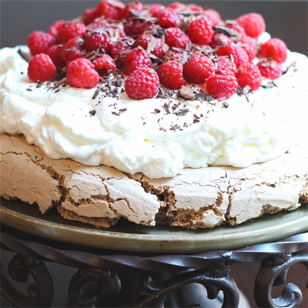 Dark Chocolate Raspberry Pavlova