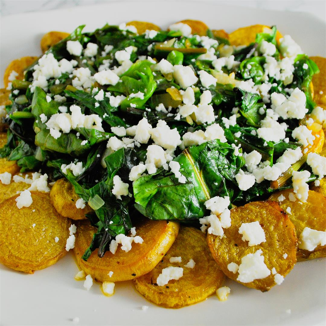 Roasted Golden Beets with Wilted Greens