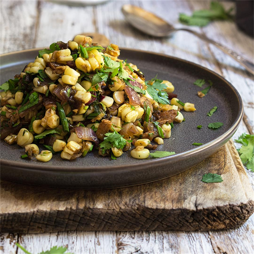 Corn salad with caramelized onions, bacon & cilantro