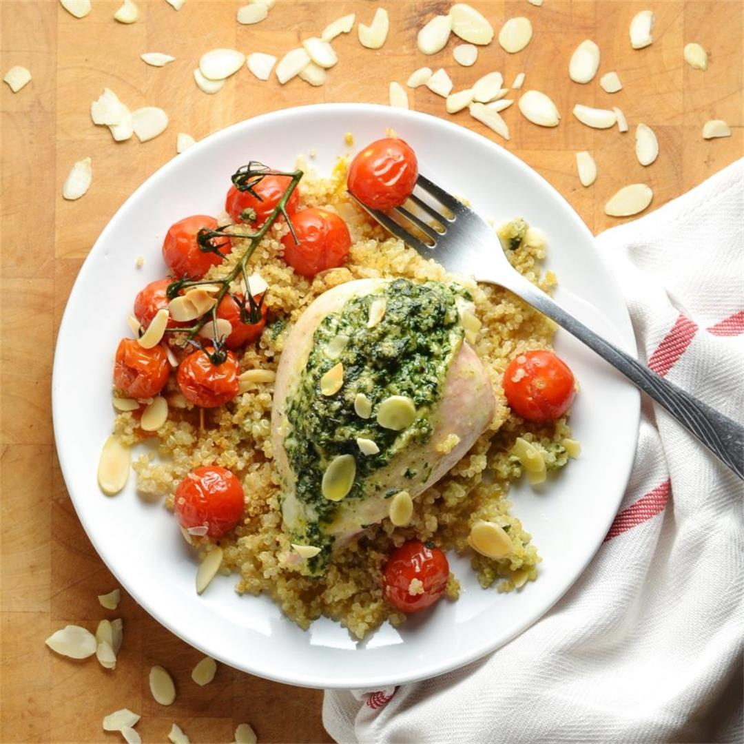 Spinach and Almond Stuffed Chicken Breast with Quinoa + Almonds