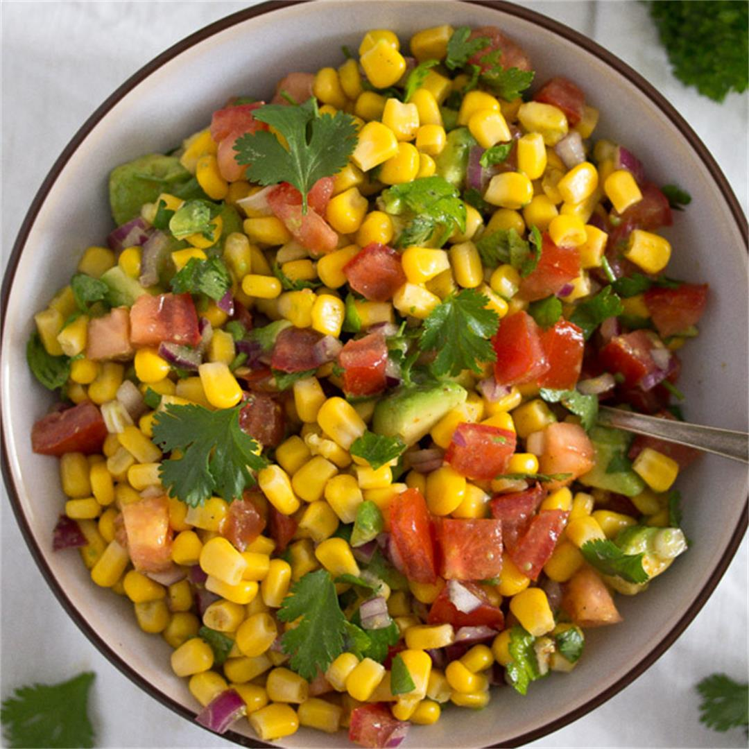Simple Avocado Salsa with Corn and Tomatoes – Mexican Recipe