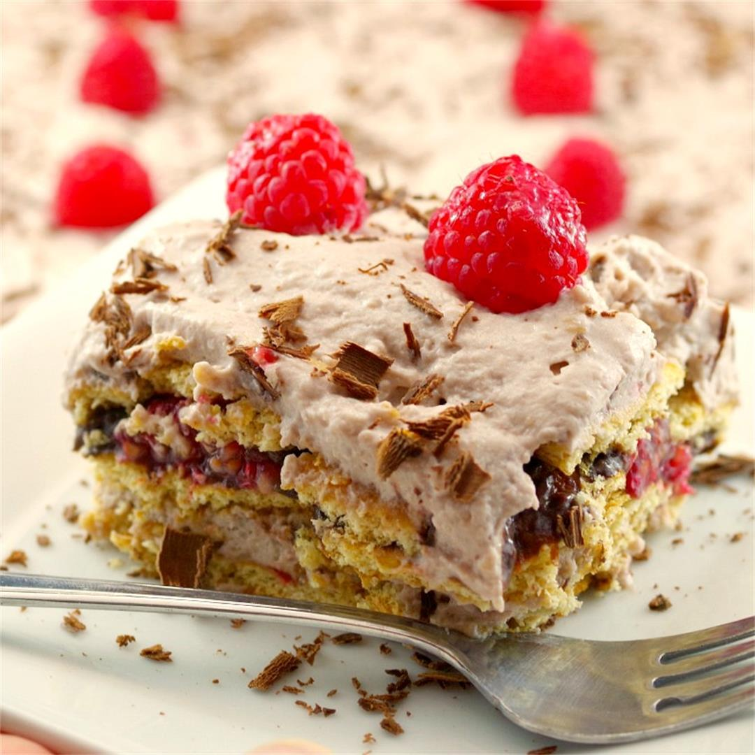 No Bake Chocolate Raspberry Lentil Dessert Lasagna