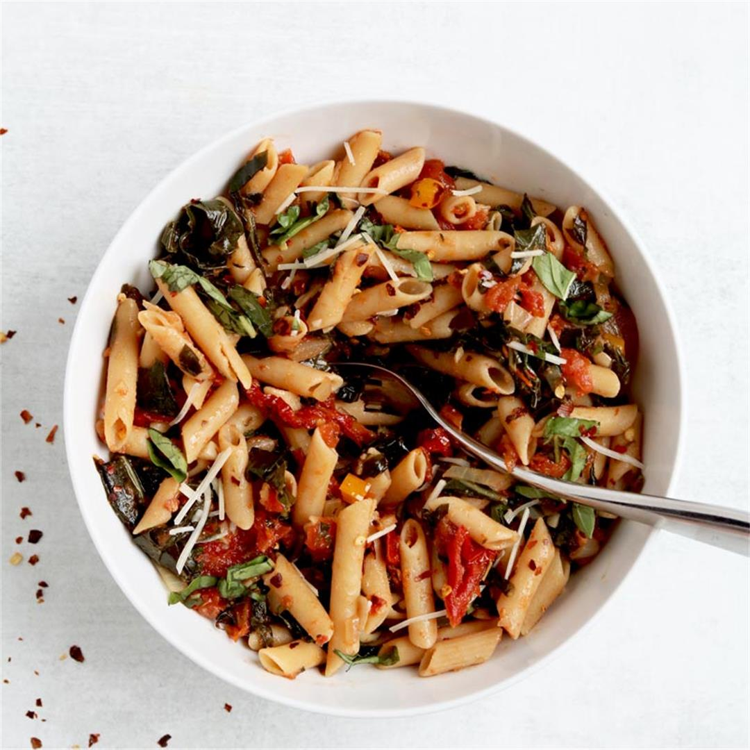 Collard & Sun-dried Tomato Vegan Penne Pasta