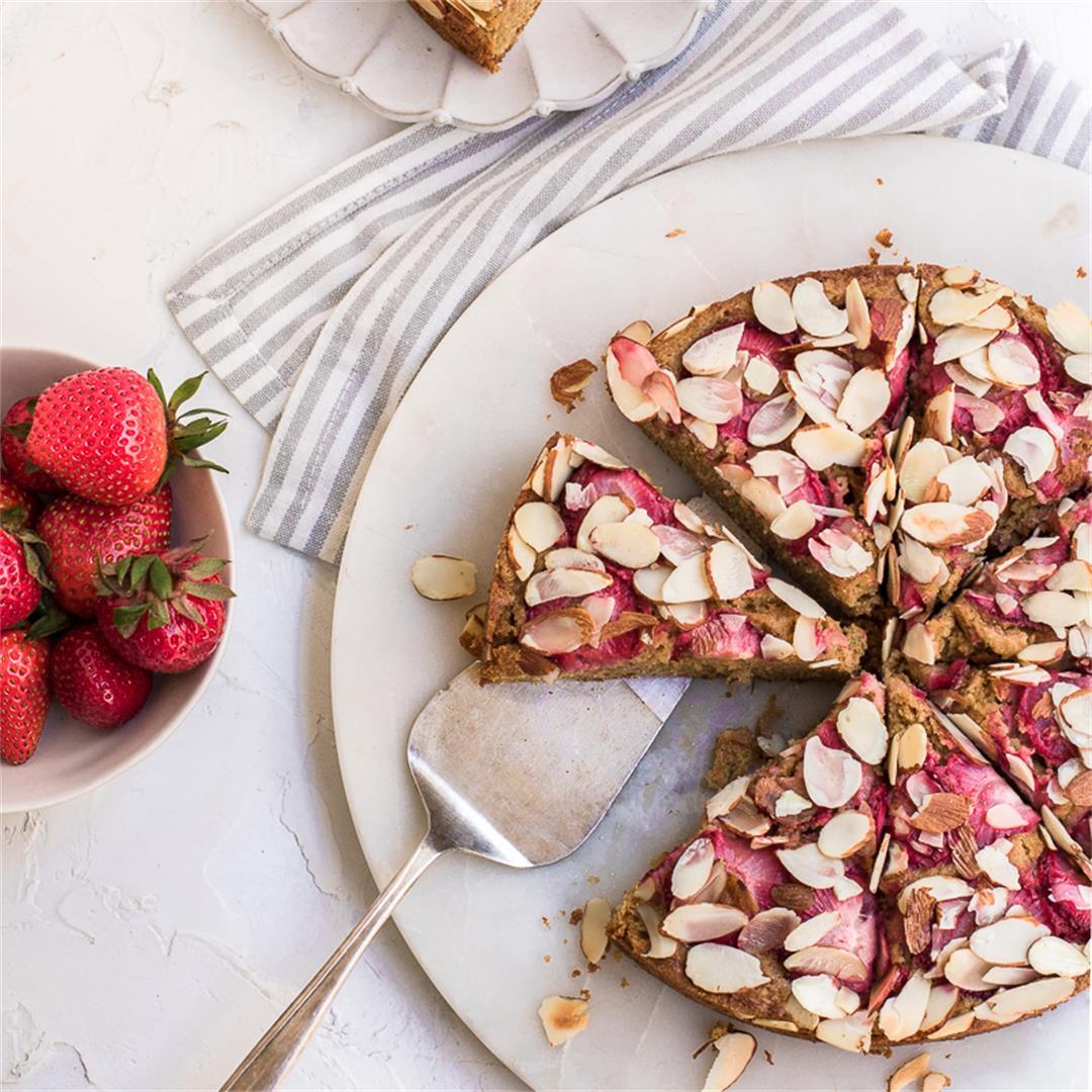 Gluten Free and Dairy Free Almond Strawberry Coffee Cake