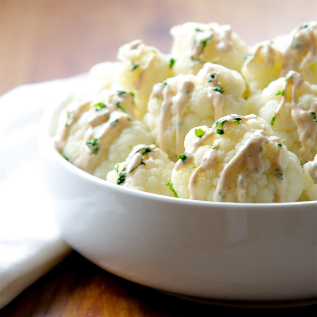 Cauliflower with Lemon Tahini Sauce