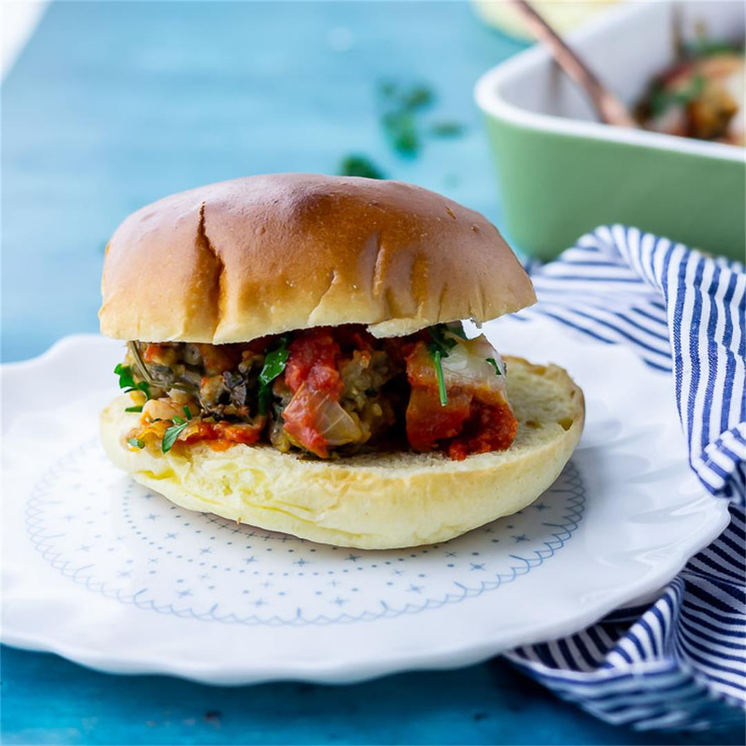 Vegetarian Meatball Sandwiches with Tomato & Mozzarella