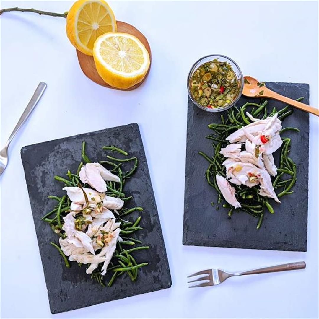 Lemongrass fish and samphire salad
