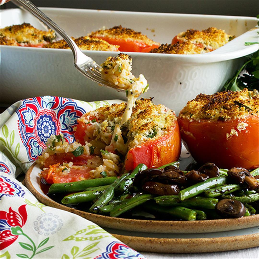 Cheesy Vegetarian Stuffed Tomatoes