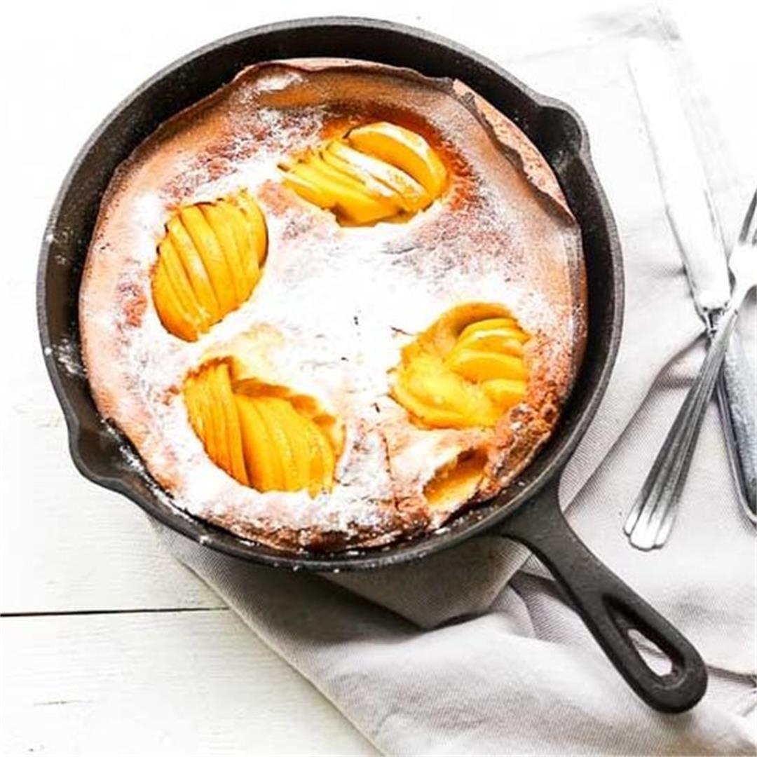 Easy sweet peach clafoutis dessert
