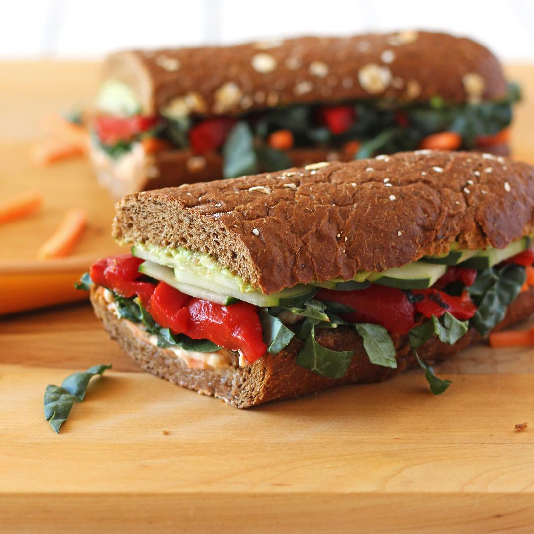 Roasted Red Pepper, Carrot and Hummus Sandwich