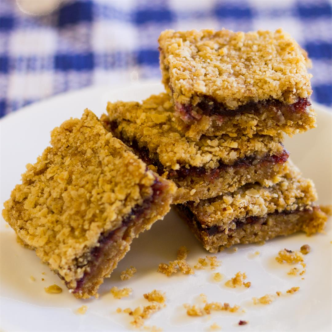 Gluten-Free Vegan Cranberry Oatmeal Bars are easy to make.