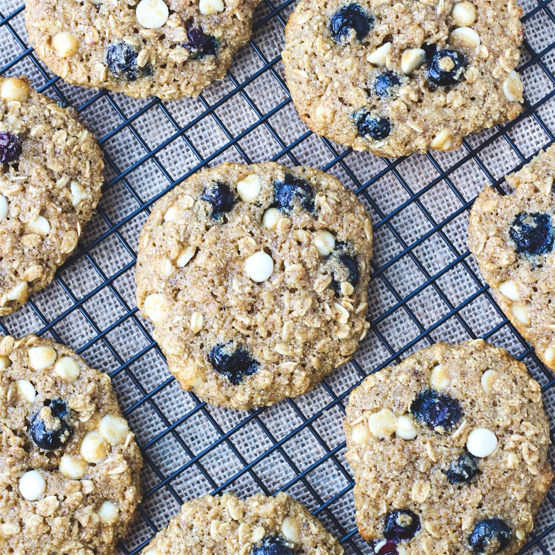Healthy Blueberry Oatmeal White Chocolate Chip Cookies