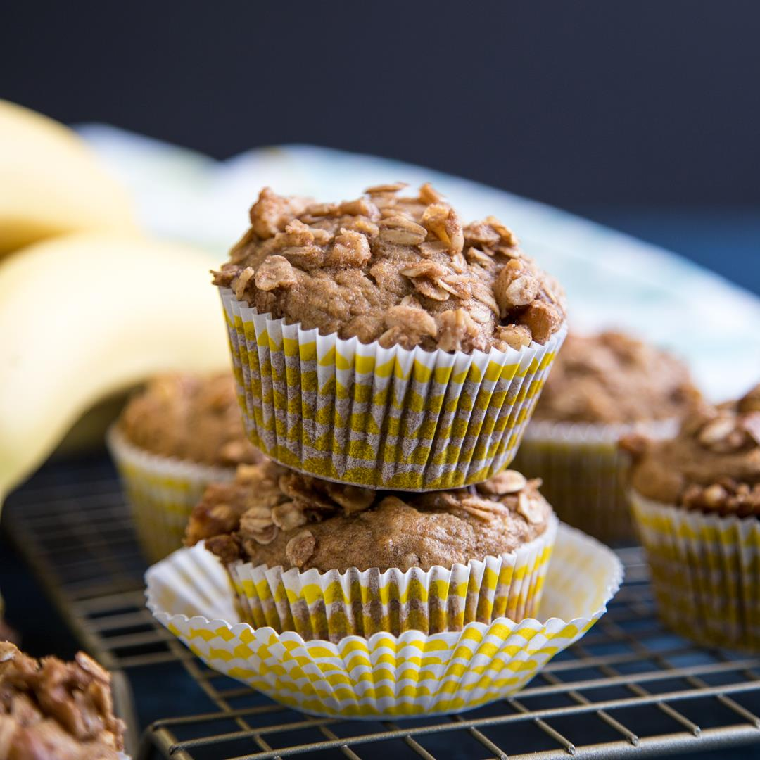 Banana Nut Muffins (whole wheat & dairy free)