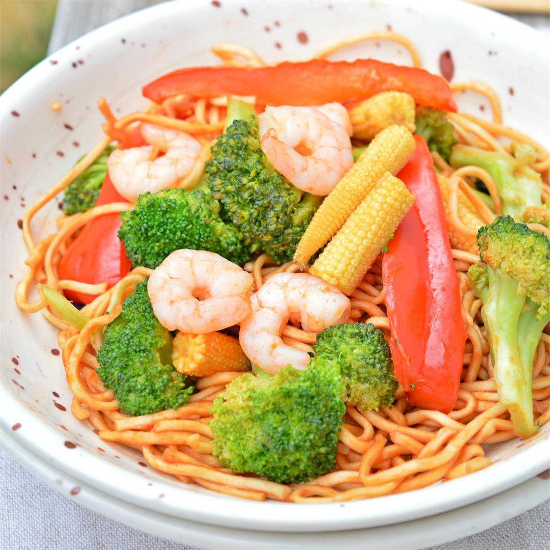 Simple Shrimp Chow Mein