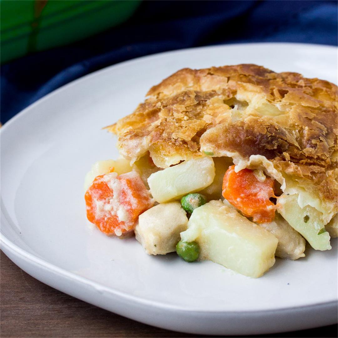 Creamy Chicken Pot Pie w/ Puff Pastry Crust
