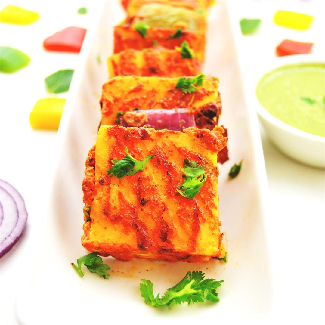 Pineapple stuffed grilled paneer/ stuffed paneer tikka
