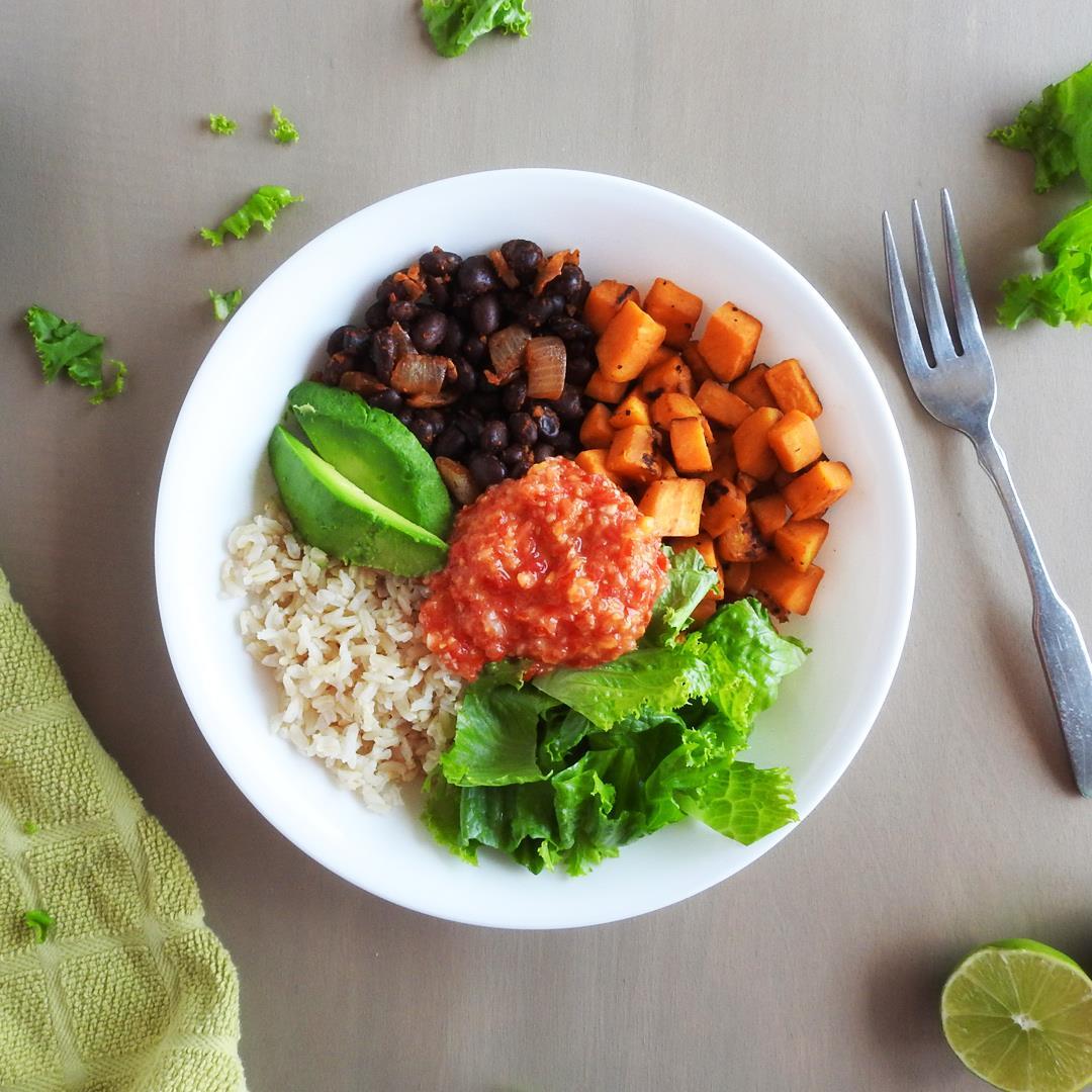 Sweet Potato and Black Bean Burrito Bowls with Mango Salsa