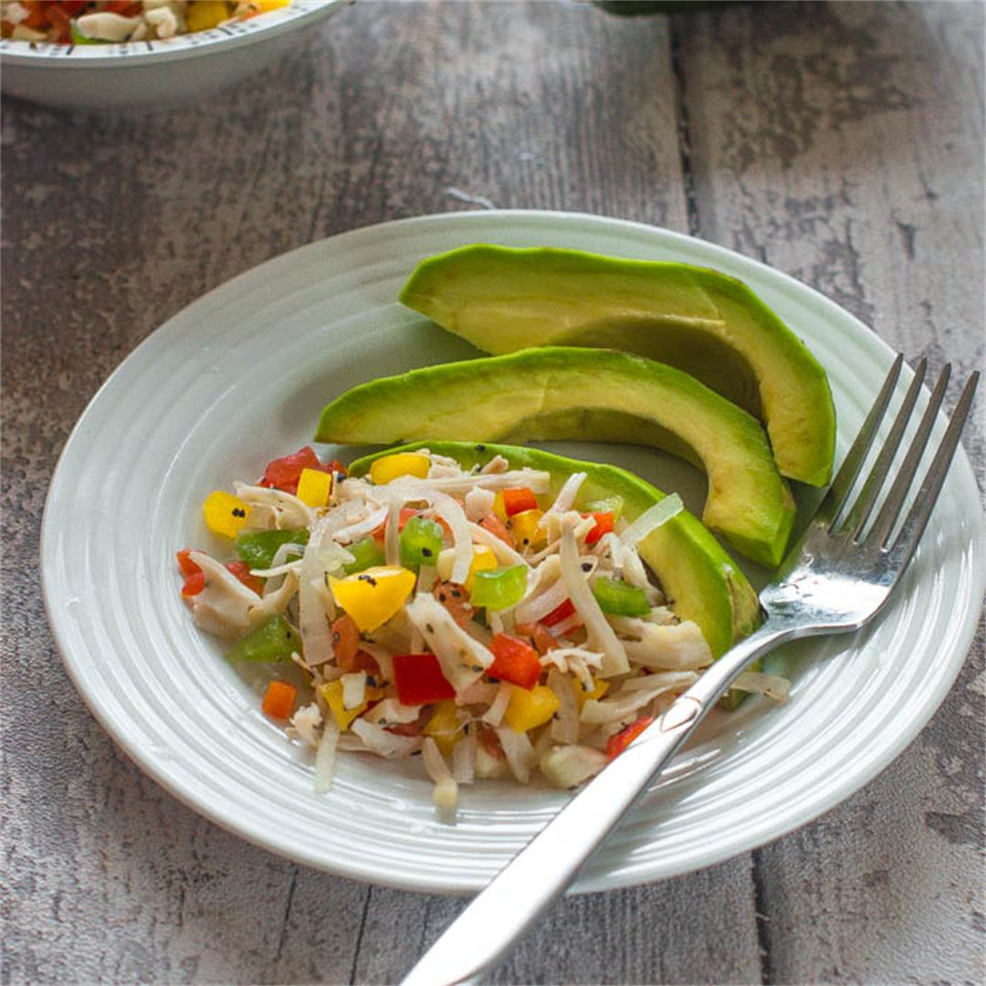 vegan style Caribbean breakfast made with jackfruit,