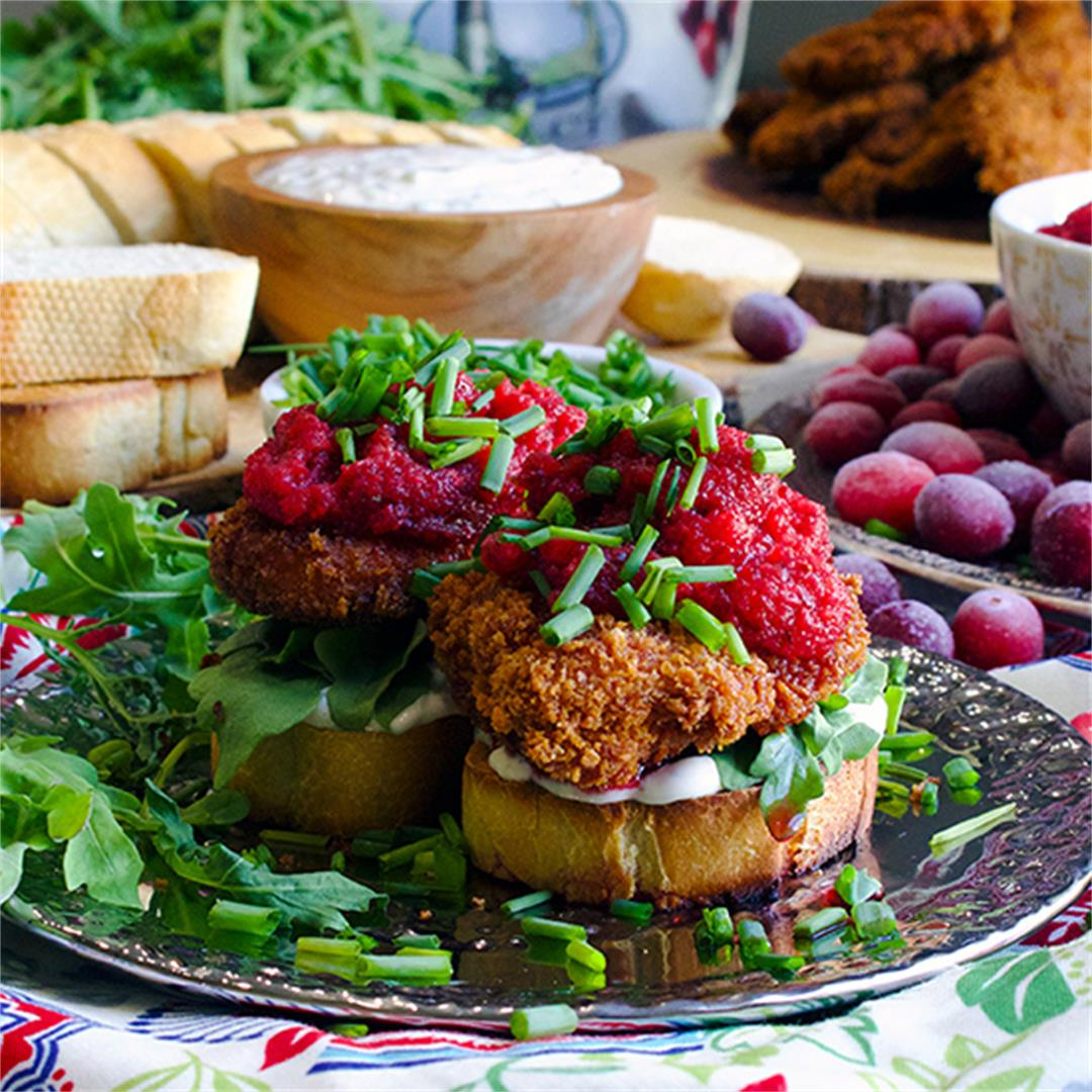 Fried Chicken Sandwiches with Spicy Cranberry Relish