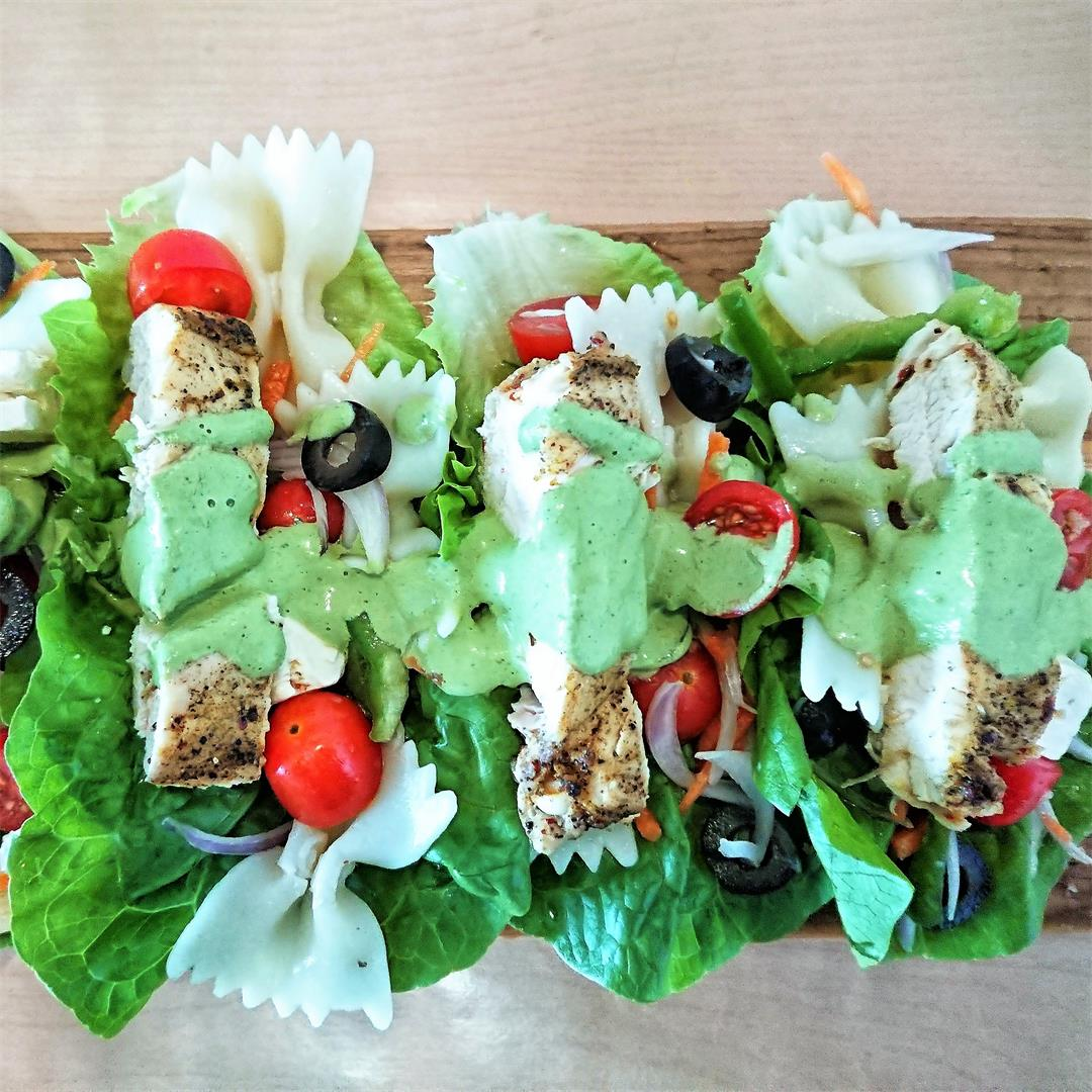 Lettuce wraps with pasta salad and mint yogurt sauce