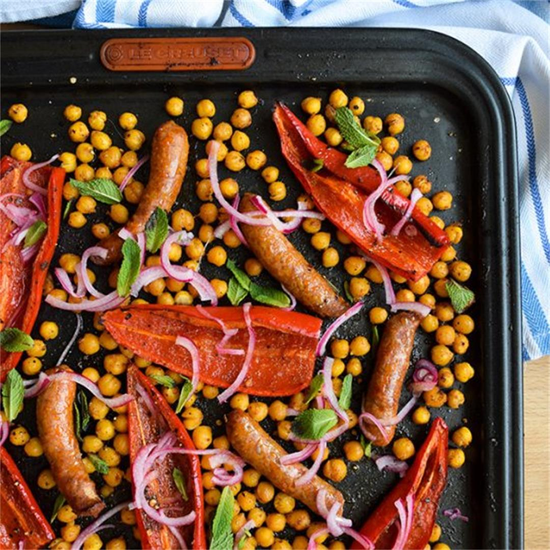 One Pan Merguez with Red Peppers & Crispy Chickpeas