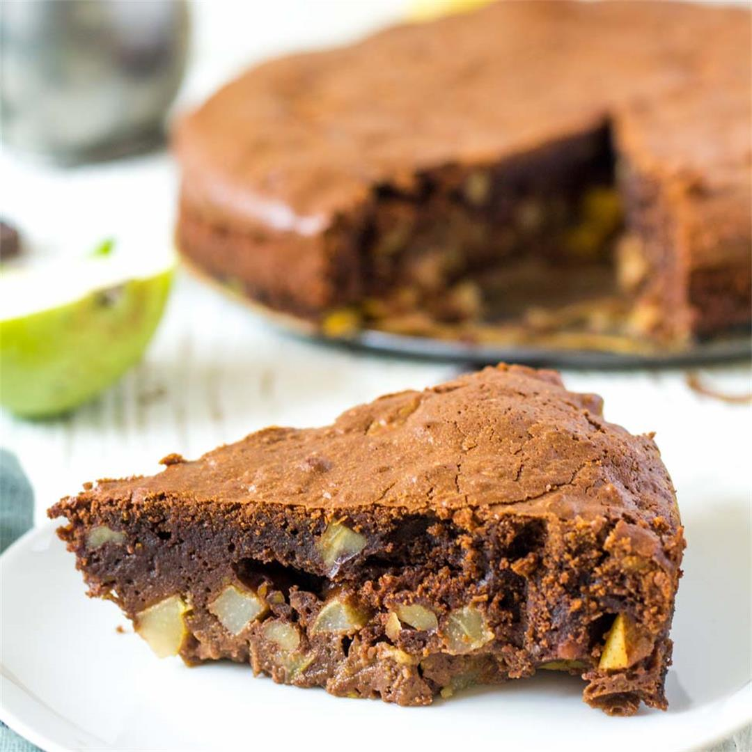 Soft Pear Chocolate Walnut Cake