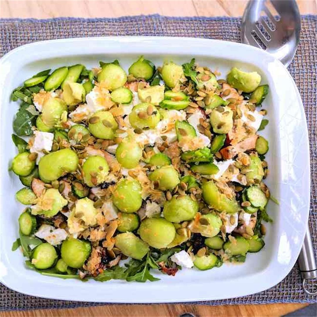 Chicken, feta and melon salad
