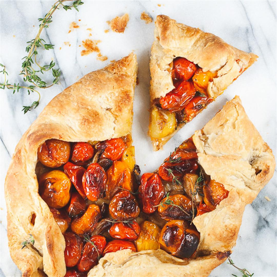 Cherry Tomato Galette with Roasted Garlic