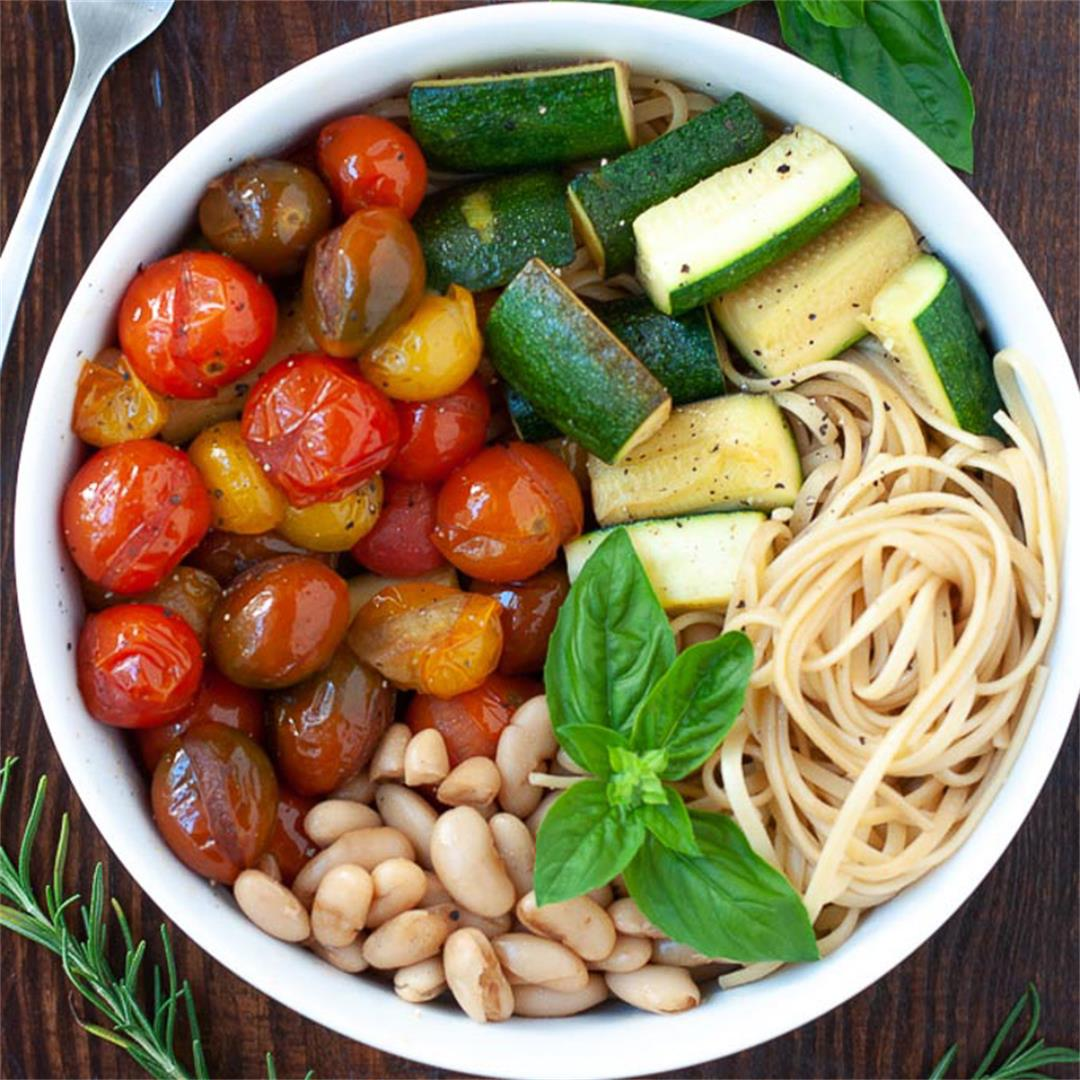 Balsamic Cherry Tomato Pasta with Zucchini and Cannellini Beans