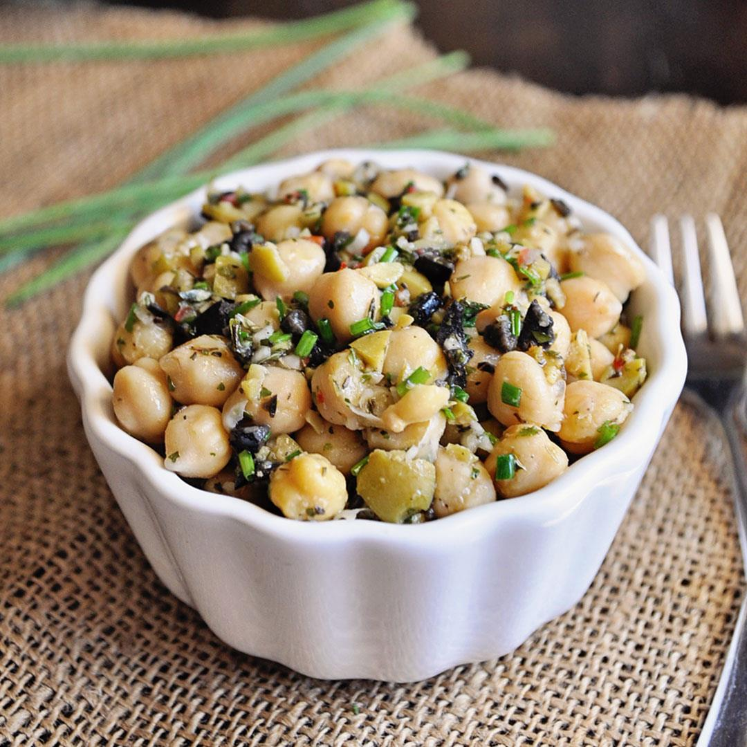 Mediterranean Chickpea Salad with Spanish Olives & Herbs