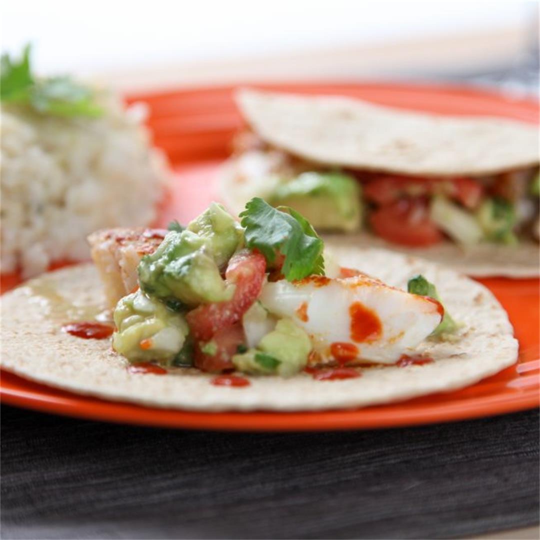 Cod Tacos with Avocado Salsa