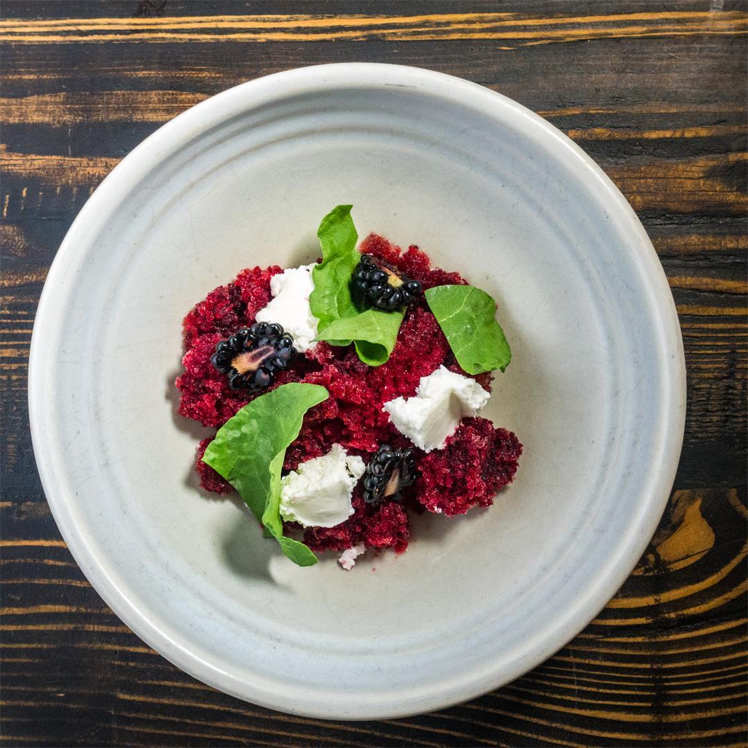 Beetroot Granita, goats curd, sorrel and berries