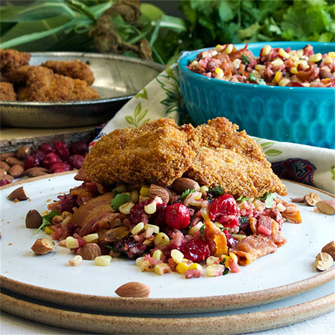 Wild Rice, Cranberry, and Roasted Corn Salad with Fried Chicken