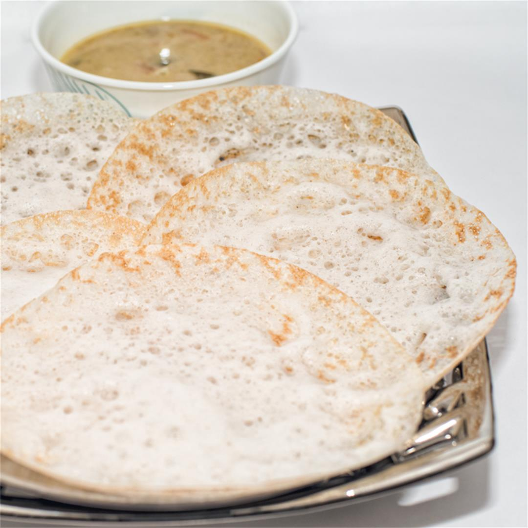 Palappam, Soft Appam, Thin Rice pancakes.