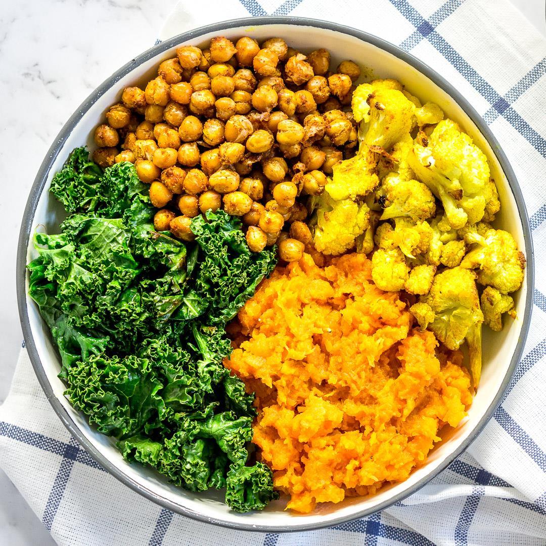 Vegan Spiced Chickpea + Veggie Bowls