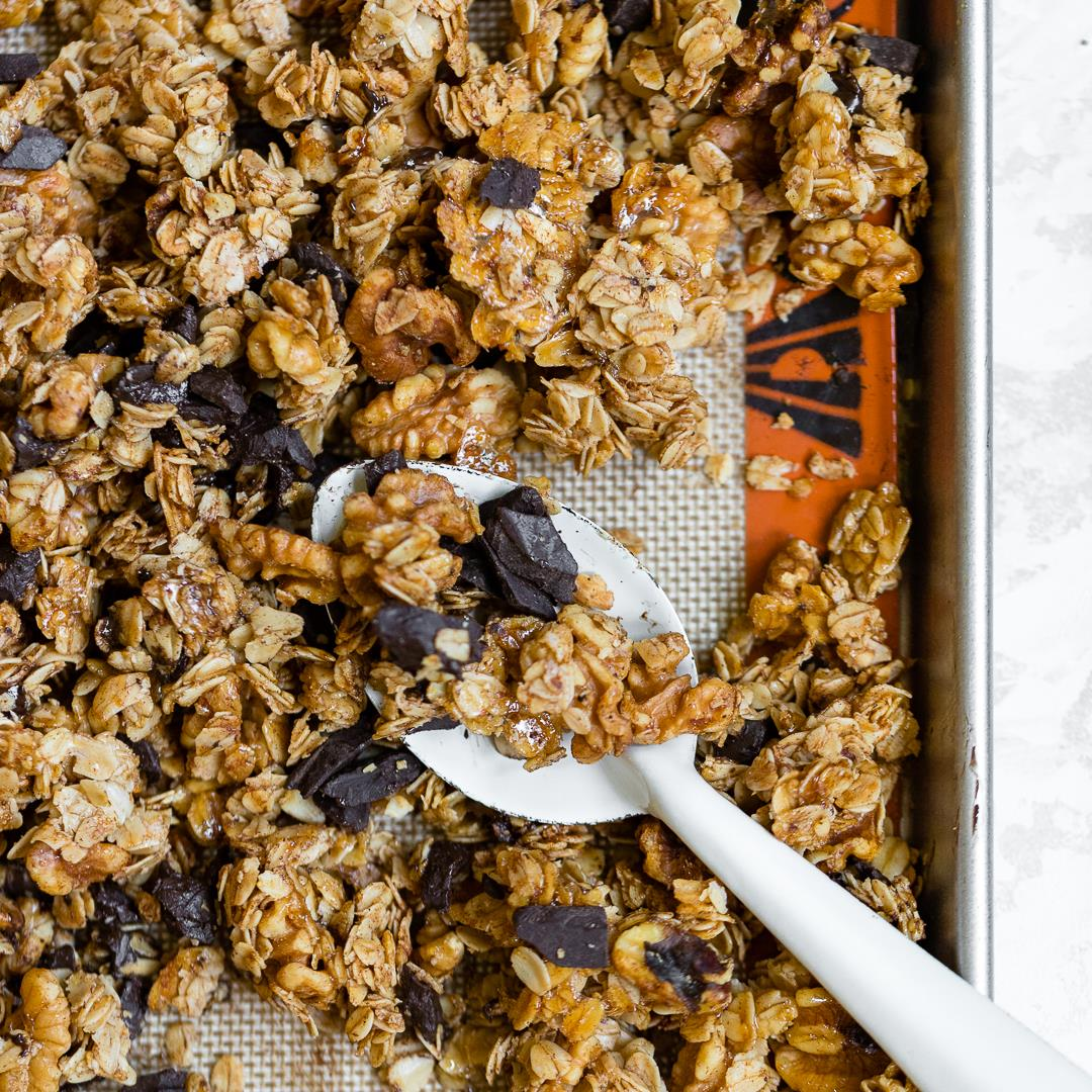 Honey Walnut Granola with Chocolate and Cinnamon