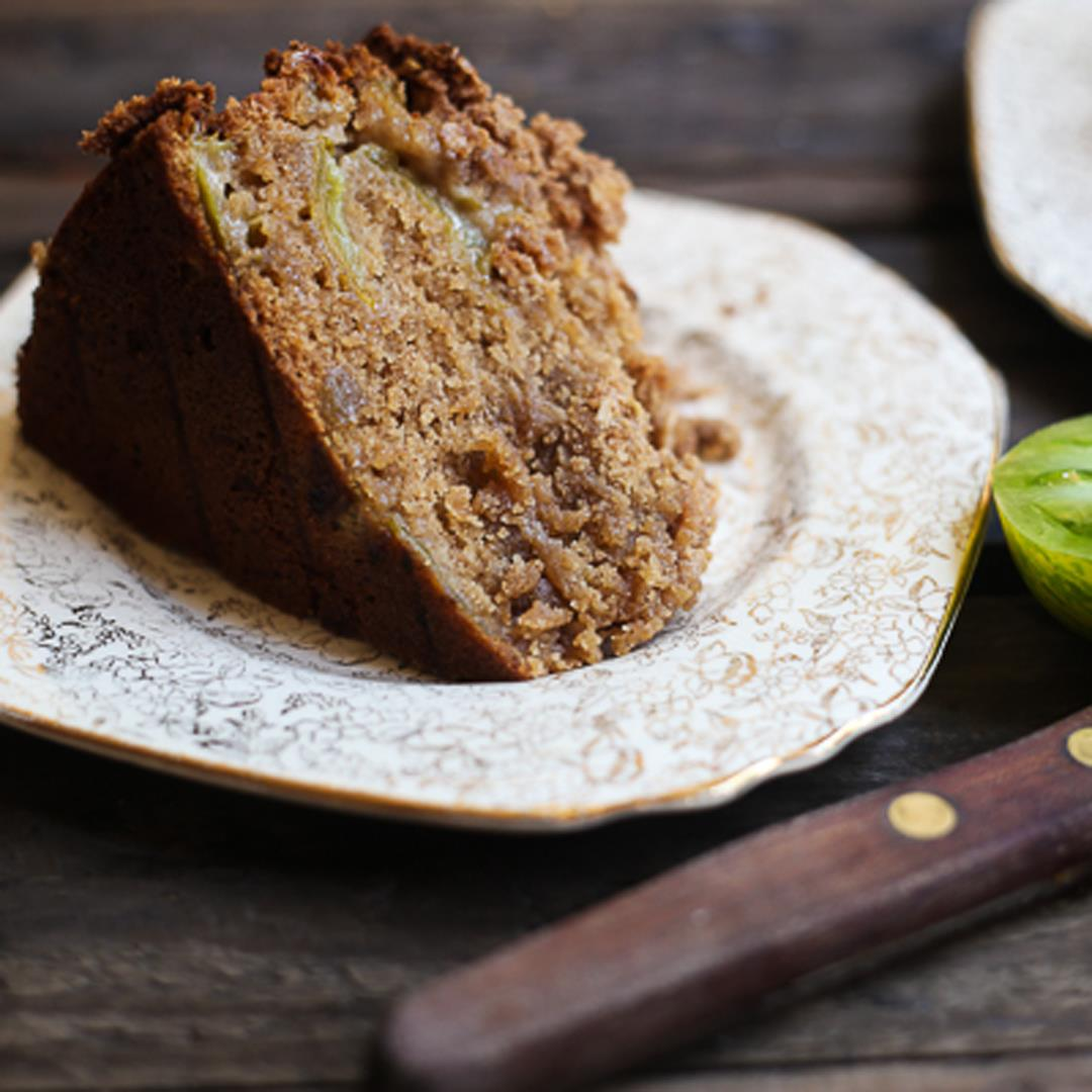 Green Tomato and Stem Ginger Cake with Streusel Topping {gf}