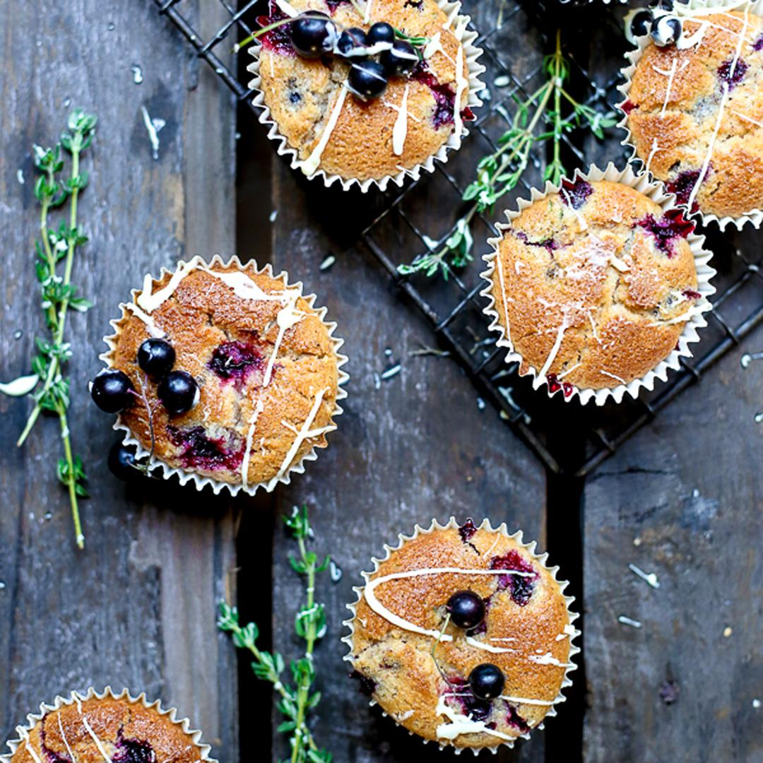 Blackcurrant White Chocolate and Thyme Muffins {gf}