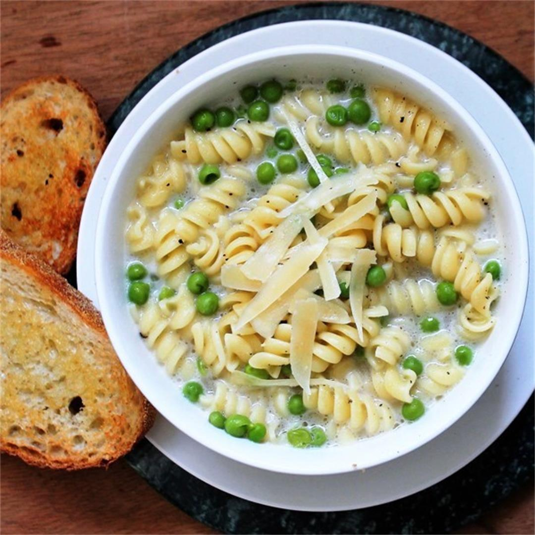 Ultra-Easy Parmesan Soup with Pasta and Peas