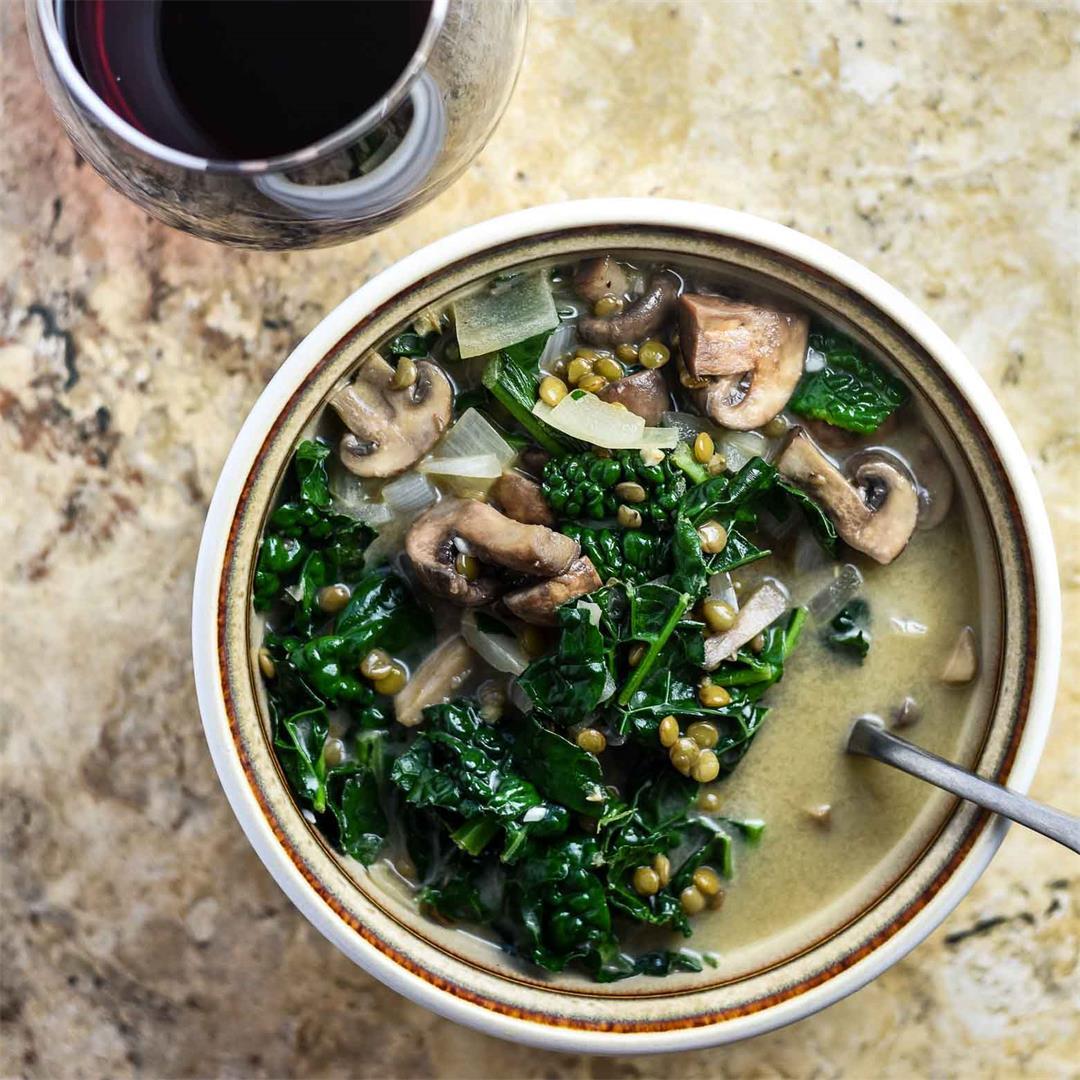 Mushroom Lentil Soup with Kale