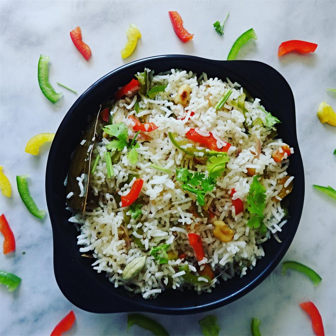 Capsicum and Garlic Fried Rice Recipe
