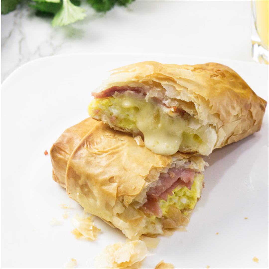 Phyllo breakfast burrito wraps