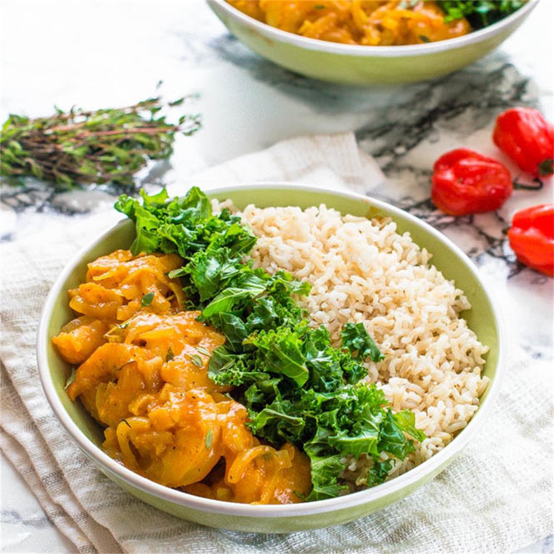 Delicious Jamaican curry shrimp - a one pot dish