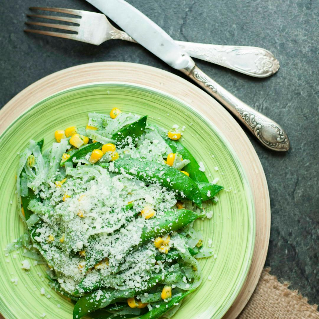 Sweet Pea in Creamy Spinach Pasta Sauce