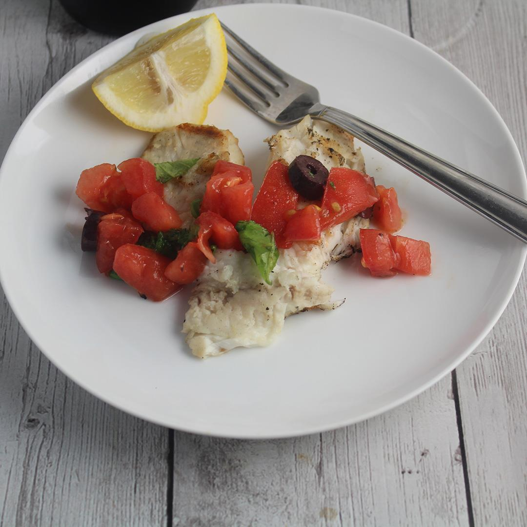 Grilled Tilapia with Tomatoes and Olives