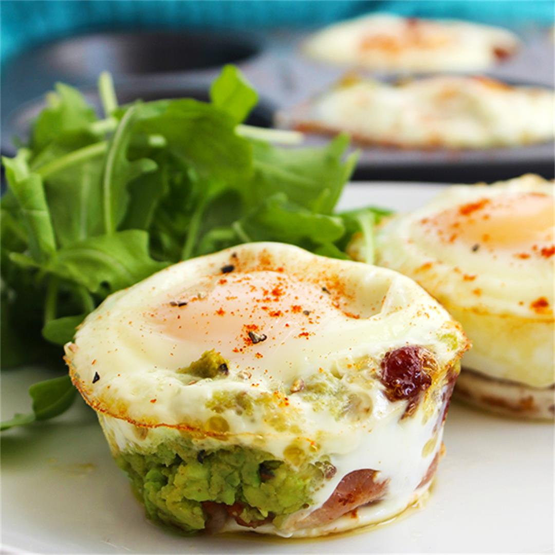 Bacon and Egg Cups with Avocado.  Low Carb and keto friendly