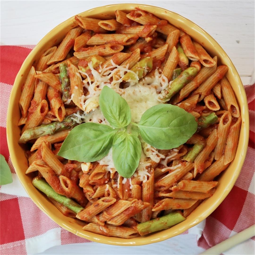 Easy Pasta with Asparagus and Marinara Sauce